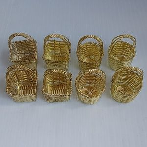 Other - 8 Mini Metal Baskets Gold Tone
